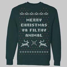Ugly Christmas sweaters featuring crochet reindeer and snowflakes are as festive as eggnog. The 1990 classic Home Alone is also a tradition enjoyed by many around the holidays. Bringing the two together is a Christmas miracle.Our Merry Christmas Ya Filthy Animal sweatshirts are hand-printed on quality crewneck sweatshirts. For information on sizing, please see our Sizing Chart page.