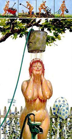 Hilda - gets outdoor shower after working in the garden
