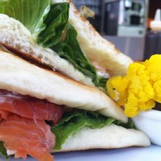Chef's lunch special - Smoked salmon sandwich with tomato, lettuce and lemon aioli