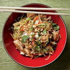 Asian Noodles with Rotisserie Chicken and Vegetables. Whip up a quick and healthy weeknight meal with this flavorful chicken and vegetables stir-fry.