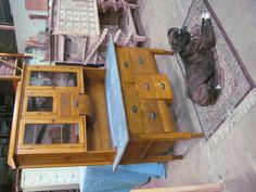 I wonder if I could restore mine and/or find or make a hutch for it?  @Jacqueline Evans see what mine has potential to look like?    This is a Opossum belly kitchen cabinet made back in the late 1800's early 1900's.