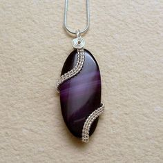 Purple Agate Pendant Necklace Silver Plated by AnnaWireJewelry, $29.99