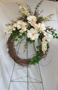 grapevine wreath flower arrangements | ... offers a full line of unique grapevine Funeral Wreaths, Cemetery pots
