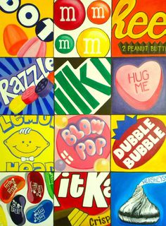 Draw a close up of candy boxes like the kind you get at the theater. pop art, art lessons, candi, box art, art prints, collag, art drawings, candy art, art projects