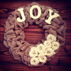 Burlap Loop Joy Wreath with Ivory Rosettes and by TealDaisyDesigns, $48.00