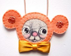 Lucy the pink mouse felt necklace
