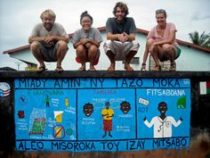 To celebrate World Malaria Day in 2012, Volunteers around Madagascar painted 16 murals with community groups, using them as an introduction to many other malaria prevention projects in their communities mural