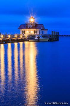 Roanoke Marshes Lighthouse at twilight, Outer Banks, North Carolina