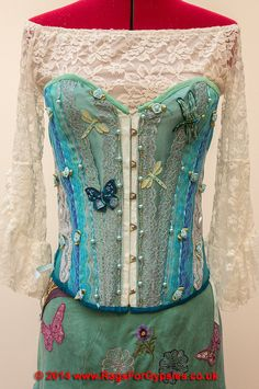 Hannah Blues and Greens Exquisite Gypsy Corset by RagsForGypsies