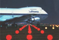 """Lufthansa Boeing 747-230B D-ABYW """"Berlin""""  turning onto the runway threshold in preparation for take-off. Circa 1982."""