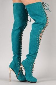 Privileged Cage Suede Lace Up Stiletto Thigh High Boot. Lynne's new work shoe.