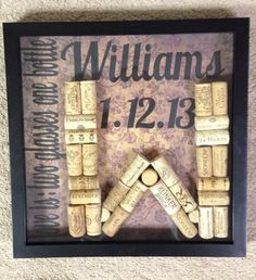 Wine Cork Letter Shadowbox with quote, couple's last name, and wedding date.. Perfect wedding or anniversary gift!