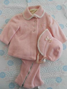 Vintage Baby Coat Hat Snowpants Set for Baby