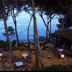 The lovely Vintage Lounge, Sa Tuna, Begur, Costa Brava, with a gorgeous view of the Mediterranean.