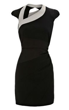 Karen Millen Asymmetric Body Con Dress Black