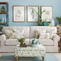 stylish living room in cream + aqua