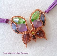 My Spiky Butterfly - Jewelry Tutorial - Intermediate Level Wire Wrapping PDF Instructions - Wire Wrapped, Wirework, Pendant, Spike Technique