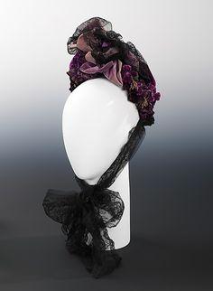 Bonnet 1873, Austrian, Made of silk and linen