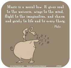 Music is a moral law. It gives soul to the universe, wings to the mind, flight to the imagination, and charm and gaiety to life and to everything. - Plato