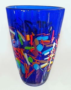 Cobalt Vase with Bright Frit by Peter Ridabock www.ridabockglass.com