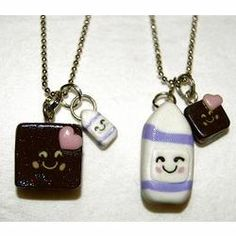 Best Friends Brownie and Milk Necklaces
