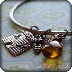 ≗ The Bee's Reverie ≗ bee bracelet charm bracelets, bee charm, bee bracelet, brass bangl, bangl charm, bee mine, brass bracelet, honey bees, brass bee