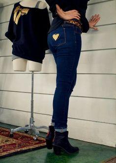 Glitter heart Refashion on Jeans - Brassy Apple