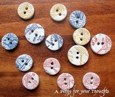 clay button, diy button, button craft, paper clay