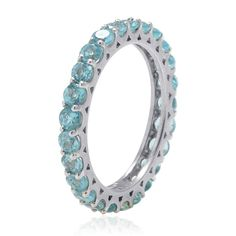Liquidation Channel | Madagascar Paraiba Apatite Eternity Ring in Platinum Overlay Sterling Silver (Nickel Free)