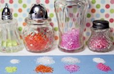 Salt shakers for glitter and dyeing your glitter