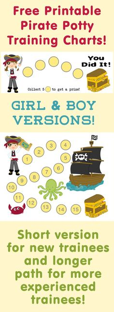 Free Printable Pirate Potty Training Reward Charts - both boy and girl versions as well as long and short pathways to the treasure! Also lots of great advice for how to potty train!