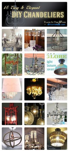 18 Easy & Elegant DIY Chandeliers | by 'Places in the Home' blog!--I've been saving and buying crystal and animal bones for a year now. I'm GOING to make my own chandelier!