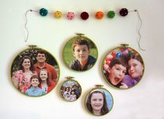 Recycle your old embroidery hoops into picture frames.