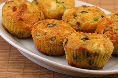 Cottage Cheese and Egg Breakfast Muffins with Mushrooms and Feta Cheese have eggs, cottage cheese, almond meal, and just a little bit of flour.  [from Kalyn's Kitchen] #SouthBeachDiet
