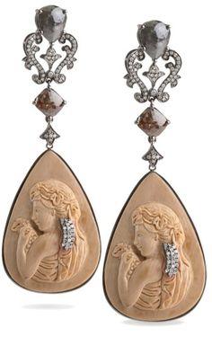 cameo and diamond earrings
