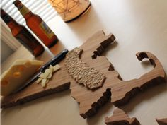 State Shaped Cutting Boards by A Heirloom $48