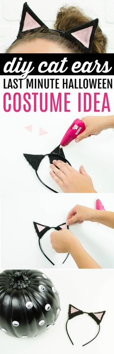 We made these adorable DIY Cat Ears, and they are so easy to  make. You can find everything you need to make these at Walmart for less than  $5. Whether you haven't planned at all, or you know you want to be a cat,  this is a great DIY simple Halloween costume idea. #halloween #happyhalloween #trickortreat #halloweenparty  #halloweenfun #crafts #craftideas #DIY #halloweenDIY #halloweencraft #projects #diycrafts #diyprojects #fundiys #funprojects  #diyideas #craftprojects #diyprojectidea