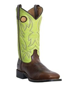 Tan & Green Rodeo Leather Cowboy Boot - Women by Laredo. I want I want I want!!!! normally $160 now $89.99 ahhhh
