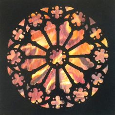 Rose Window, stained glass quilt block at Music Inspired Quilt Art