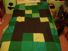 minecraft creeper quilt, using bigger squares and solid color fabrics!