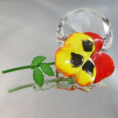 Vintage Pansy Brooch  Red  Black Yellow Green 70s Retro by waalaa, $19.99