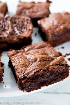 Thick, fudgy, chewy homemade brownies made completely from scratch. You will never make a box mix again! @Sally McWilliam McWilliam [Sally's Baking Addiction]