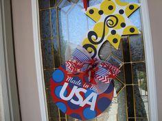 Patriotic Door Hanger/4th of July Red by thepaisleypetalvegas, $30.00