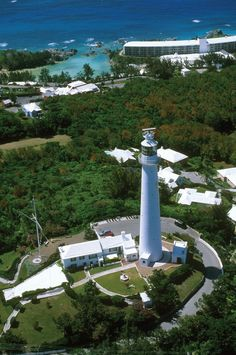 Aerial photograph of Gibbs Hill Lighthouse in Bermuda
