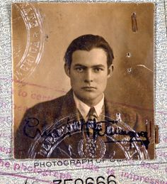 Ernesto - you were young and callow once. Hemingway's 1923 passport photo.  #Passport Photos #Photos #Authors #Vintage