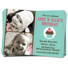 joined birthday party | Joint \/ Twin Birthday Party Photo Invitation (Boy or Girl Format)