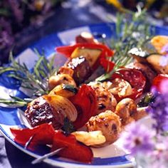 Beef and Vegetable Kabobs.  Spice up purchased barbecue sauce to quickly make a zesty marinade for your next cookout. Add the marinated beef to skewers with zucchini, sweet peppers, onions, and mushrooms. Delicious!