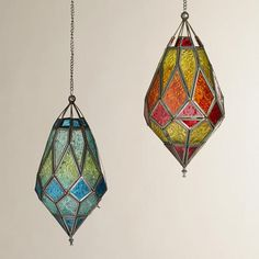 One of my favorite discoveries at WorldMarket.com: Medium Antigua Pieced Glass Lanterns, Set of 2 $25 - for hanging in the tree outside