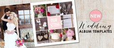 Romantic wedding album templates for Photoshop