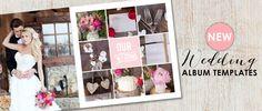 Romantic wedding album templates for Photoshop